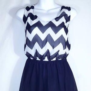 Rue21 Dresses - Rue 21 Blue Chevron High Low Dress
